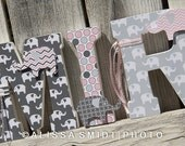 Elephant Nursery Letters, Custom Wooden Letters, Custom Letters, Baby Girl (pink, grey, gray, elephant theme, jungle, safari) 7 Inch Size