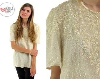 Vintage 70s / 80s Beaded Silk Top Sequins Pearls Beads Disco Blouse / sm md