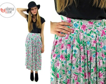 Vintage 80s Floral High-Waist Skirt / Pleated Midi Skirt / Floral Abstract Skirt . xs sm md