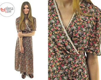 SALE - 90s Foral Maxi Dress, Puff Sleeves, 90s Revival, Grunge Floral Dress ΔΔ sm / md