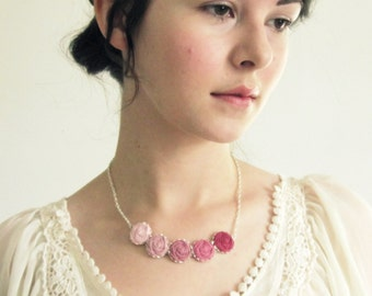 Pink Rose Necklace- Fabric Flower Necklace in Blush, Sweet Pea & Pastel Pink -Ombre Prom Necklace