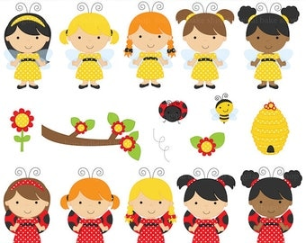 ladybug bee girls bumblebee clipart clip art lady bug - Ladybug and Bumblebee Girls Clipart