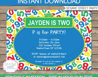Sesame Street Invitation Template - Birthday Party - INSTANT DOWNLOAD with EDITABLE text - you personalize at home