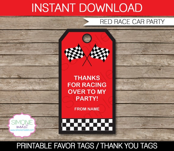race car favor tags thank you tags birthday party favors