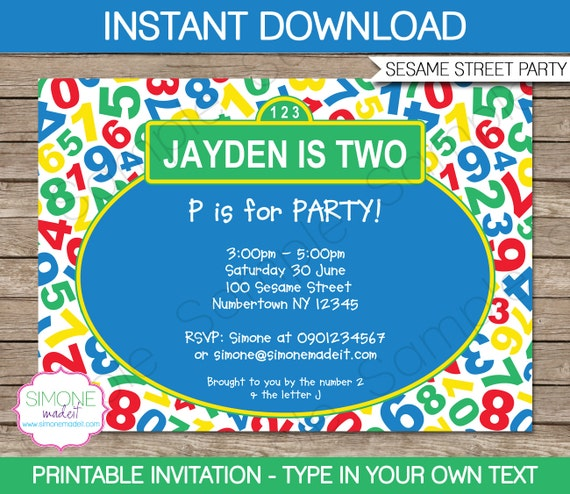 Sesame street invitation template birthday party instant il570xn pronofoot35fo Choice Image