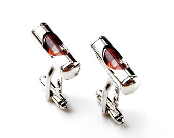 Red Bubble Level Cufflinks - Groomsmen Gift - Men's Jewelry - Gift Box Included
