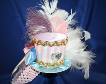 Circus Carnival Mini Top Hat  Blue, Pink and White Stripes, Sequins, Ribbons,Tulle, Feathers - Birthday, Ringmaster, Pageant, Dance