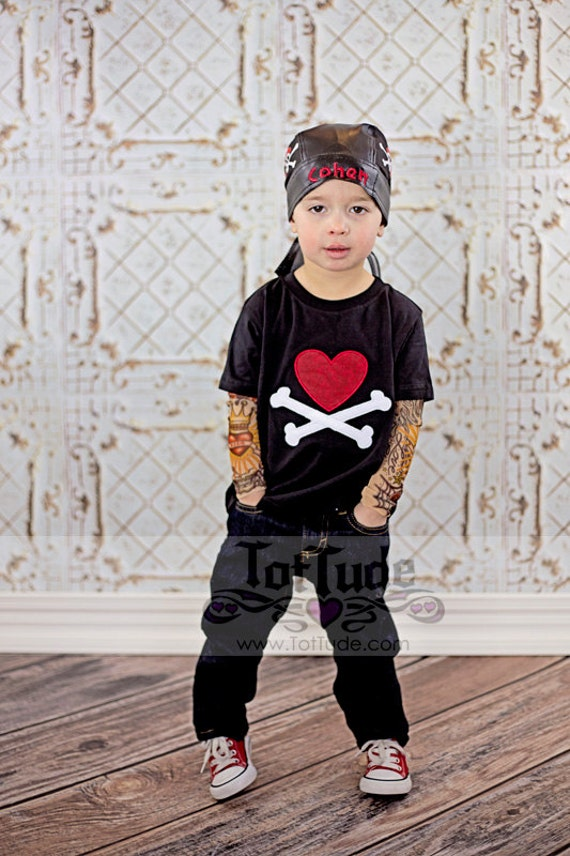 Fake Tattoo Sleeve Shirt with Valentine Heart and Crossbones applique