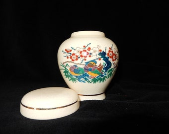 Satsuma Japan GINGER Jar gold accents 2 birds red white flowers bamboo vintage collectible porcelain asian decor-collectible