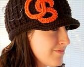 READY TO SHIP Women's College-Themed Brimmed Beanie - Black w/ Orange