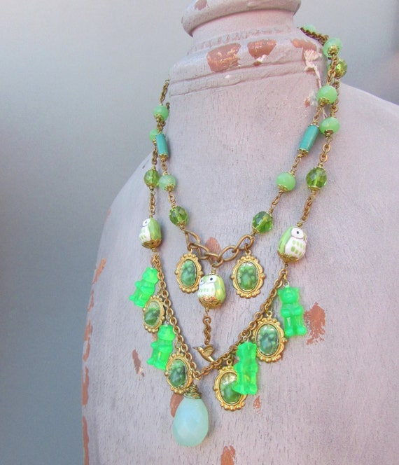 Chunky Green Necklace  - Gummy Bears Necklace Green Statement Necklace, Seafoam Chalcedony Briolette Necklace, Owl Necklace OOAK - HEBE