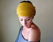 MUSTARD YELLOW Head Scarf, Hair Wrap, Headband - Bohemian Womens Hair Accessories by EcoShag