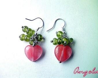 Earrings Cherry quartz and Peridot. Earrings cherry heart. Earrings with Peridot gemstone. Cheerful and boho dangle earrings.