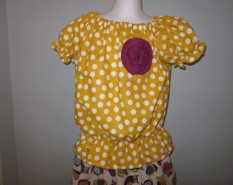 Mustard Yellow and White Dot Girls Peasant Tunic Top with Berry Flower Embellishment 12 18 24 2T 3T 4T 5/6 7/8 9/10 11/12