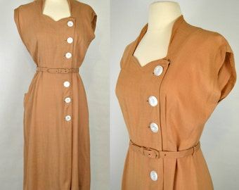 1960s Mocha/Tan Brown Sweetheart Neckline Wiggle Dress By Reloms