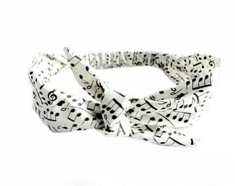 Music Note Head Scarf, Black and White Tie Headband Piano Treble Sheet Music Bandana Rockabilly Hairband