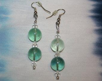 Artisan Crafted Green Fluorite Earrings Beaded w Vintage Crystal Glass Hypoallergenic Shepherd Hooks