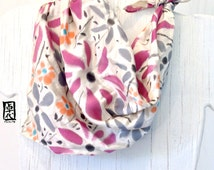 Hand Painted Small Square Silk Scarf, Silk Satin Scarf, Floral Scarf, Beige, Grey, Wine Red Wildflowers. Silk Scarves Takuyo.  20x20 inches.