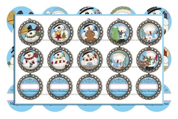 Editable Snowman Bottle Cap Images Christmas Ornaments