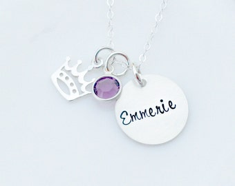 Personalized Necklace - Name Necklace - Princess Necklace - Crown Necklace - Mothers Day Gift