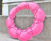 Gorgeous Pink Round Scalloped Decorative Ornate Wall Mirror Nursery Girly GIrl Bedroom