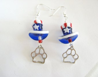 4th of July Earrings with Paw Print