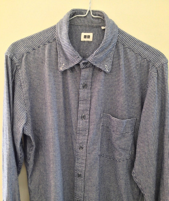 Flannel shirt navy blue and white houndstooth pattern cotton for Navy blue and red flannel shirt