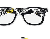 Batman inspired hand painted glasses - clear lens frames sunglasses Batman comic unique - yellow - grey - black and white