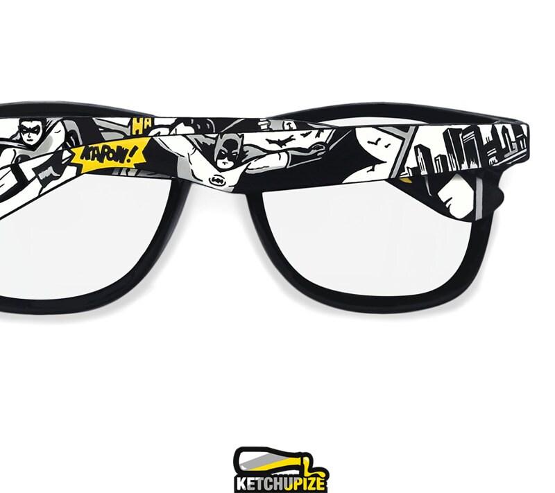 batman inspired handpainted prescription frames gift for him clear lens mens joker geek superhero comics black and white wayfarer sunglasses