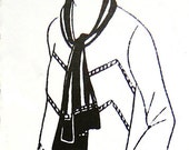 1920s dress pattern, with detachable scarf, and decorative chevron lines.