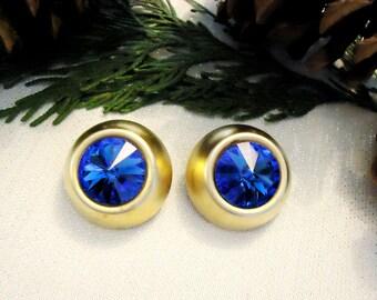 Beautiful Extra Large Blue Rhinestone and Gold Earrings