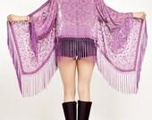 Purple Velvet Kimono Crop Jacket - Purple Haze