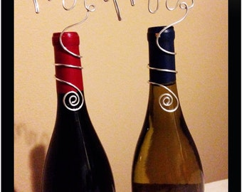 "Set of 2 Wine Bottle Toppers ~ ""Mr & Mrs"" ~ Available in silver, gold, or rose-gold"