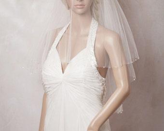 Two layers veil, beaded blusher, silk blusher wedding veil, Circle Veil, Elbow Length Veil with Blusher, Bridal Veils - Nicole