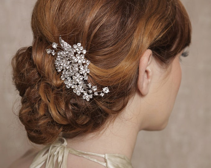 Silver Crystal Hair Piece, Bridal Hair Comb, Bridal Hair Clip, Wedding Headpiece, Crystal Rhinestone Bridal Hair Accessories - Quick Shipper