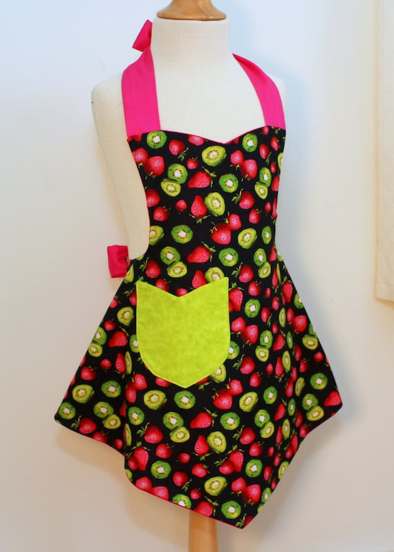 Girls Apron, Reversible Girls Apron in Kiwi and Strawberries Print