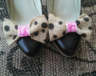 burlap shoe clips, polka dot shoe clips, Burlap wedding bows, Wedding shoe clips, Wedding accessories