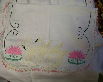 Embroidered Table Runner  Swan Pink Lotus Flower Hand Stitched Vintage