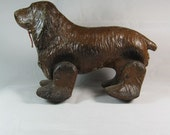 Vintage 1940s WWII Child's Pull Toy Walking Spaniel Dog Brown Waddles Wood Composition by Noma Electric Corp