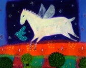 White Horse with Wings art print - Giclee on paper/Whimsical/Nursery decor