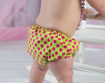 Polka Dot Diaper Cover Baby Girl Newborn Photo Prop Birthday Cake Smash Lime Green Hot Pink Bright Colorful Dots