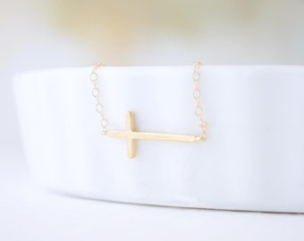 Thin Side Cross Necklace Matte Gold - 1198