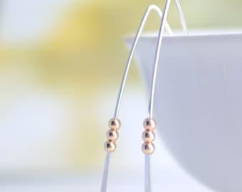 Handmade Bar Earrings, Sterling Silver Hammered Bar Earrings, Tiny Rose Gold Bead Earrings, Ellipsis Hook Earrings, Olive Yew- 3130