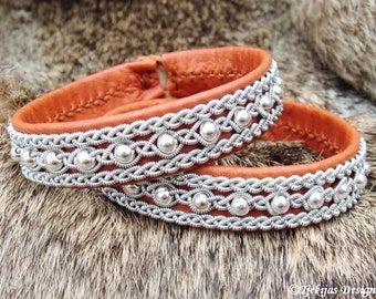 YDUN Arctic Sami Bracelet. Swedish Lapland Reindeer Bracelet in Bark Tanned Leather with Sterling Silver Beads in Pewter Braids Handcrafted