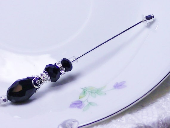 RESERVED FOR Jazmin   2 black crystal stick pins for wedding