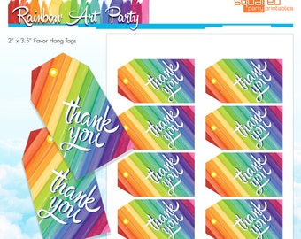 Melted art etsy rainbow party thank you tags rainbow art party favor tags melted crayon art solutioingenieria Choice Image