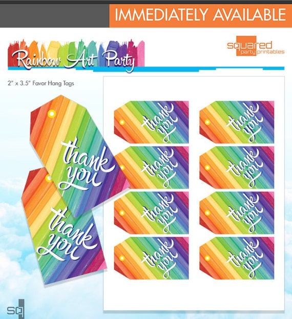 Rainbow party thank you tags rainbow art party favor tags melted il570xn solutioingenieria Image collections