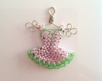 Miniature Bead Dress: Pendant, Pink and Lime
