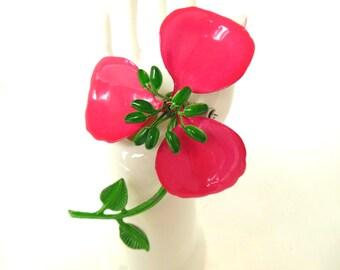 Vintage Enameled Flower Brooch Hot Pink 50's (item 12)