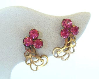 Vintage Rhinestone Pink Screw Backs Gold 50's (item 69)